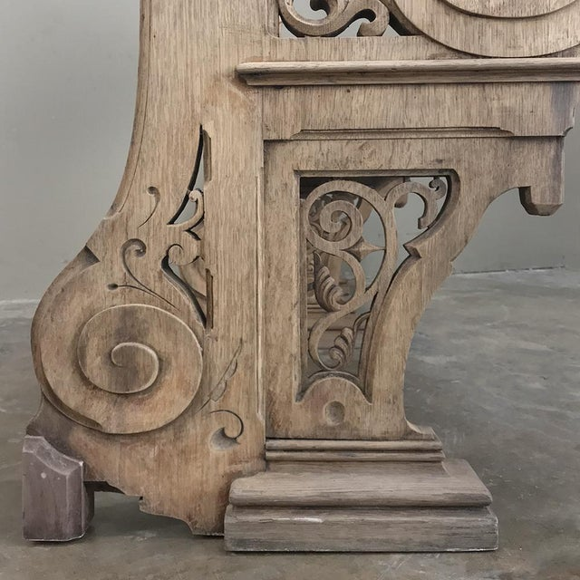 19th Century Gothic Stripped Oak Church Pew For Sale In Baton Rouge - Image 6 of 13