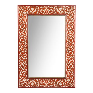 Red Inlay Moorish Mirror