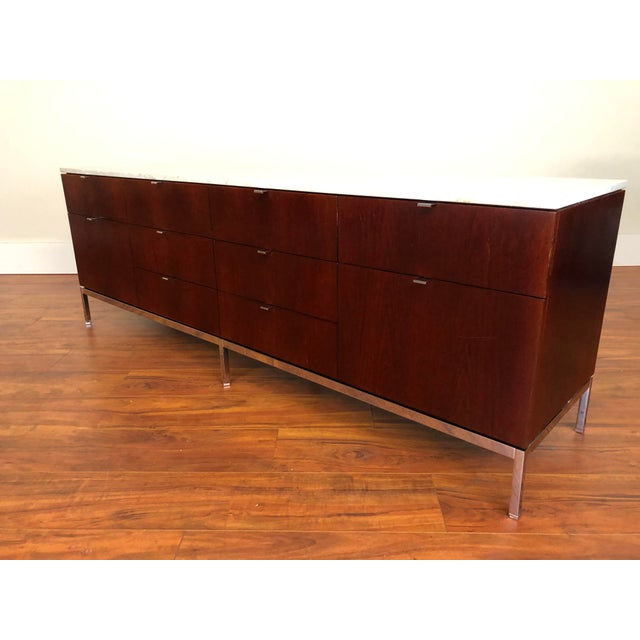 Metal Florence Knoll Four Position Credenza With Marble Top For Sale - Image 7 of 13