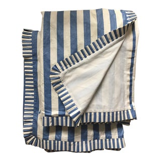 Pair Glazed Chintz Striped Curtains For Sale