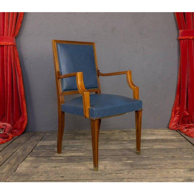 Pair of French, 1940s Mahogany and Leather Armchairs For Sale - Image 4 of 10