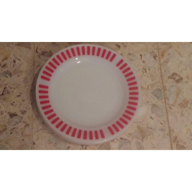 Glass Hazel Atlas Red Candy Stripe Dinner Plates - Set of 8 For Sale - Image 7 of 11