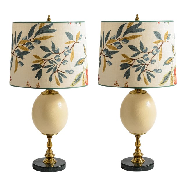 Antique French Ostrich Egg Table Lamps With Brass & Marble Base, A-Pair For Sale