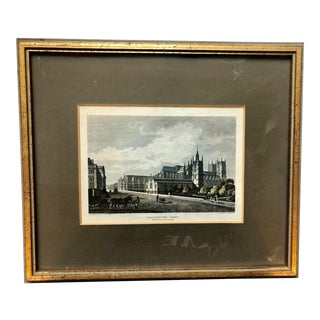 19th Century Copper Engraving of Westminster Abbey by Busby in Gilt Wood Frame For Sale