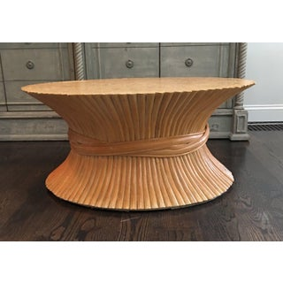 Vintage Hollywood Regency Bamboo Wheat Sheaf Coffee Table Preview