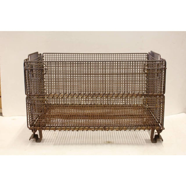 Large original American industrial collapsible wire basket. We have two available, this listing price is for 1.