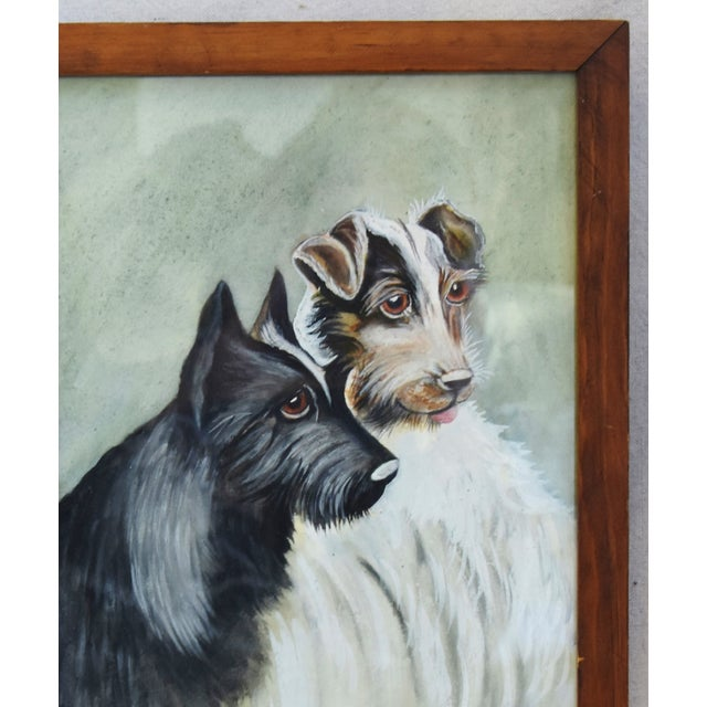 Midcentury Watercolor Painting of a Pair of Charming Dogs For Sale - Image 4 of 8
