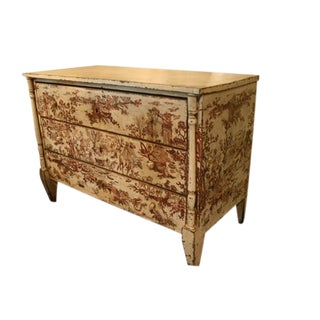 19th Century Spanish Painted Chest With Toile Pattern For Sale