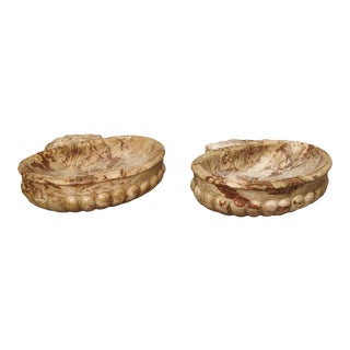 Italian Carved Breccia Pontificha Marble Sinks - A Pair For Sale