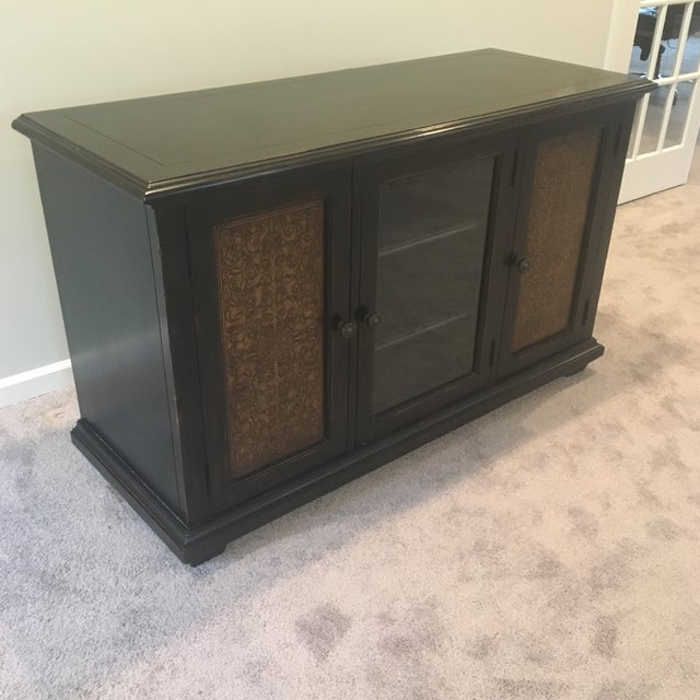 Americana Wood and Brass Credenza/Media Cabinent For Sale - Image 13 of 13