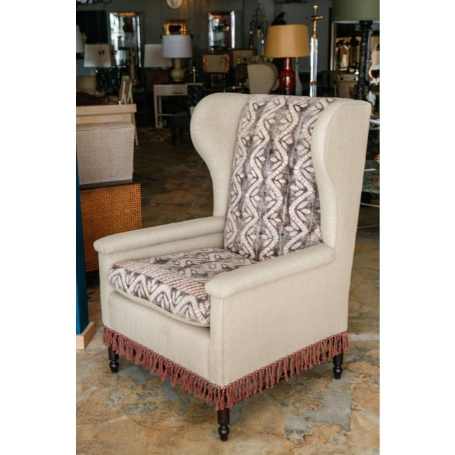 Bloomsbury inspired, reinterpreted and fully restored pair of wing chairs with new upholstery (cotton blend with a linen...
