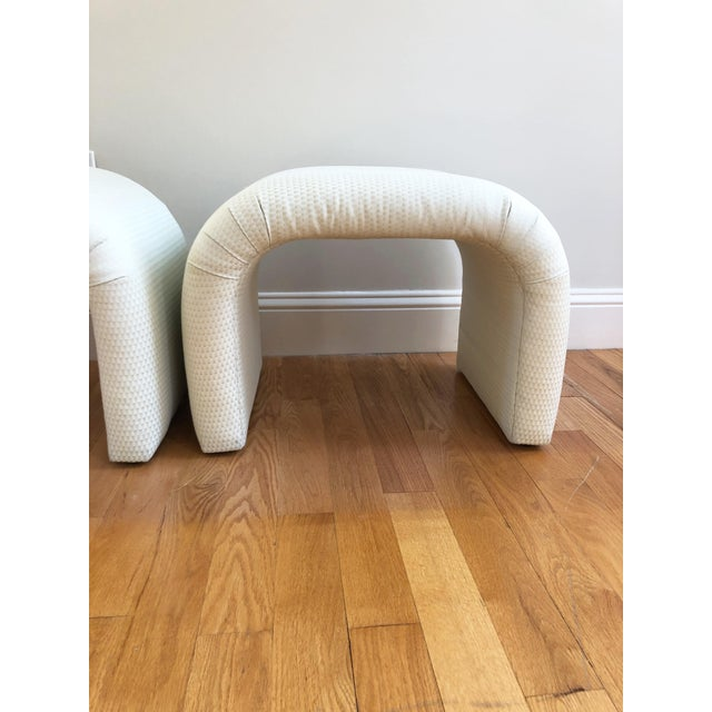 Fabulous pair of vintage upholstered waterfall stools or benches in the style of Milo Baughman, Leon Rosen and Karl...