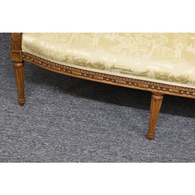 19th Century French Louis XVI Style Carved Chinoiseries Canape Settee For Sale - Image 9 of 12