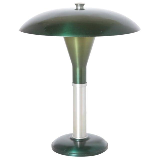 "Machine Age Art Deco Anodized Aluminium ""Mooncrest"" Sight Light Smith Metal Arts For Sale"