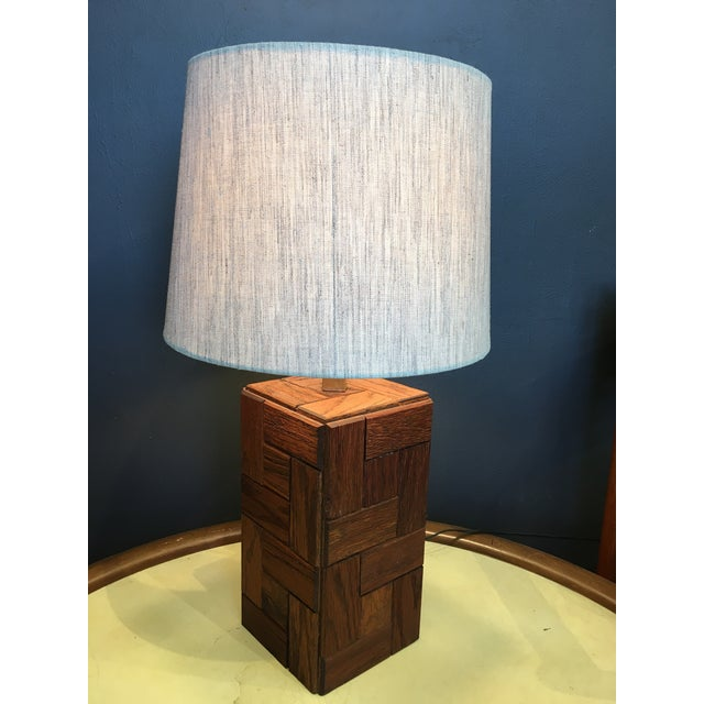 Oak Mid-Century Hand Crafted Wood Table Lamp For Sale - Image 7 of 10