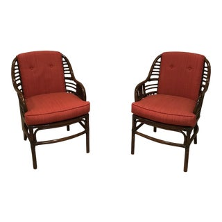 1950s Vintage McGuire Style Armchairs- A Pair For Sale