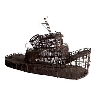 1960s Tugboat Welded Wire Sculpture For Sale