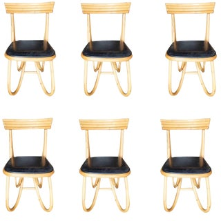 1950s Restored Loop Leg Rattan Dining / Side Chairs - Set of 6 For Sale