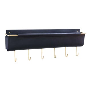 Moses Nadel Leather Wall Pocket Navy/Brass with 6 Hooks For Sale