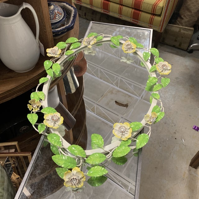 French Vintage Tole Flower Mirror For Sale - Image 3 of 9