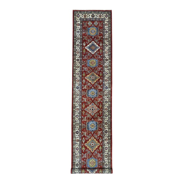 Red Kazak Pure Wool Geometric Design Hand-Knotted Runner Rug For Sale