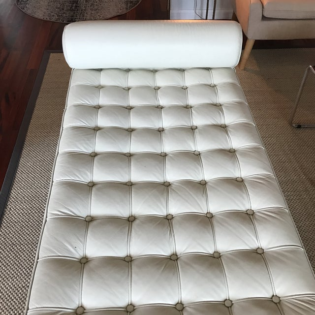 Vegan Leather Barcelona Style Daybed With Round Bolster Pillow For Sale In Miami - Image 6 of 12