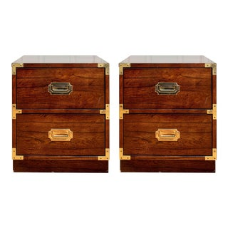 Bernhardt Mid Century Modern Campaign Style Nightstands - a Pair For Sale
