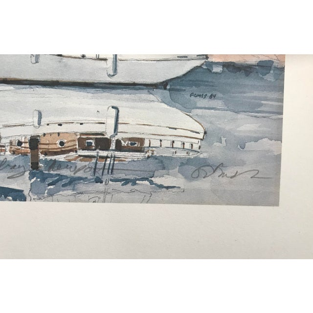 Impressionism Sailboat Watercolor Print Lithograph - Numbered and Signed For Sale - Image 3 of 8