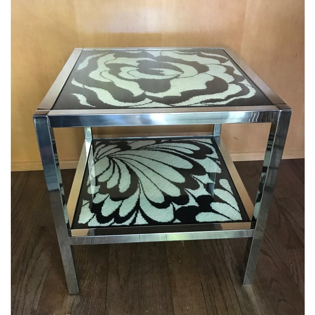 Mastercraft Chrome and Custom Pucci Style Needlepoint 1960's Side Table - Image 6 of 9