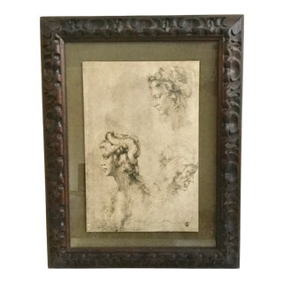 Late 20th Century Italian Neoclassical Style Drawing, Framed For Sale