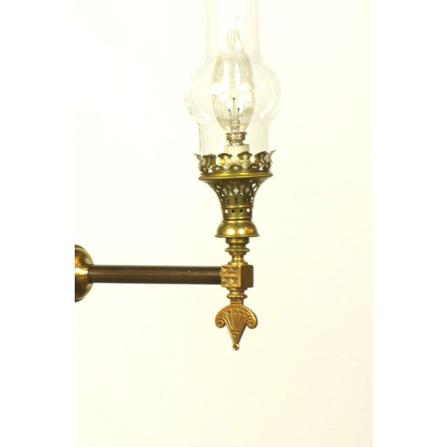 Aesthetic movement three light brass fixture with glass chimneys image 4 of 4
