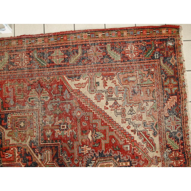 1920s Hand Made Antique Persian Heriz Rug - 5′7″ × 8′1″ - Image 6 of 10