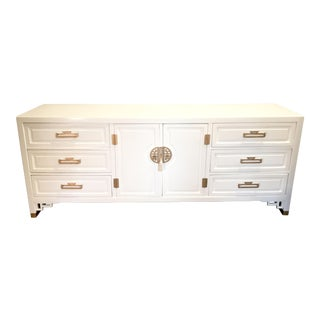 White Lacquered Asian Dresser by Century Furniture For Sale