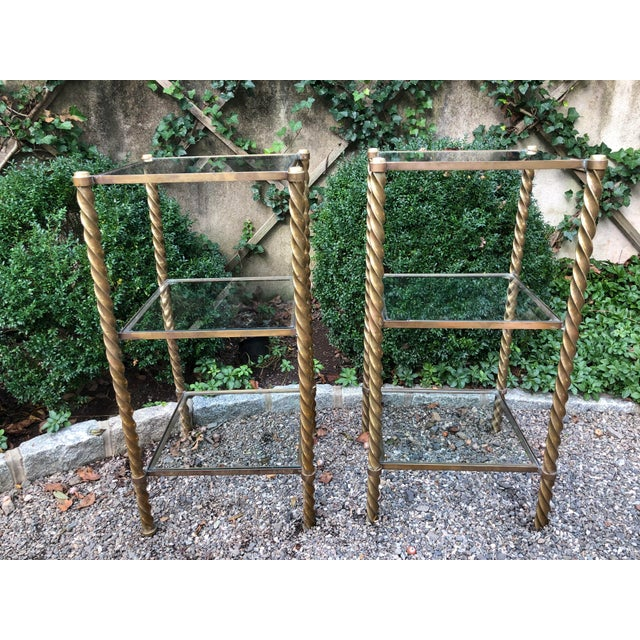 1970's Mid-Century Modern Brass and Glass Etageres-a Pair For Sale - Image 11 of 11