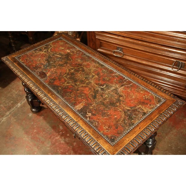 French Louis XIII Carved Walnut Center Table For Sale - Image 3 of 10