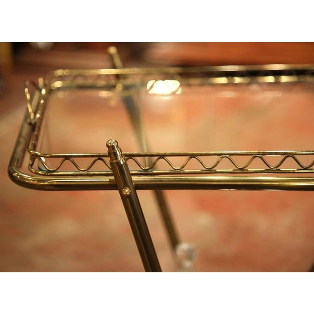 Mid-20th Century French Brass Cart With Removable Upper Tray - Image 6 of 10