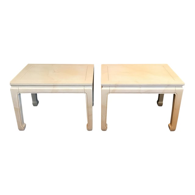 Henredon Goatskin Lacquered End Tables - a Pair - Image 1 of 9