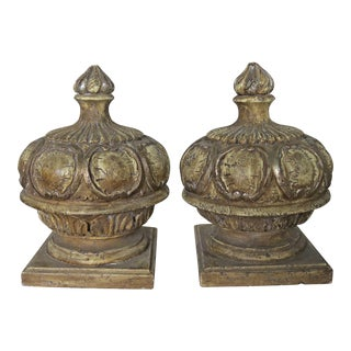 Pair of Carved Wood Finials-20th Century For Sale