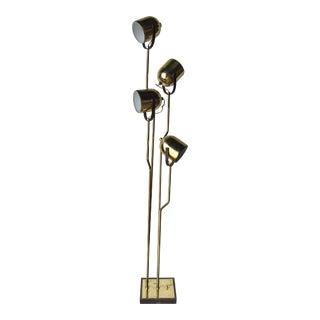 1970s Goffredo Reggiani Pivoting Four Headed Floor Lamp in Brass For Sale
