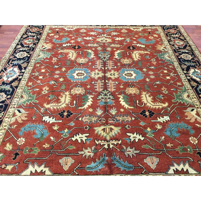 2010s Indo-Persian Heriz Rug - 8′2″ × 9′10″ For Sale - Image 5 of 7