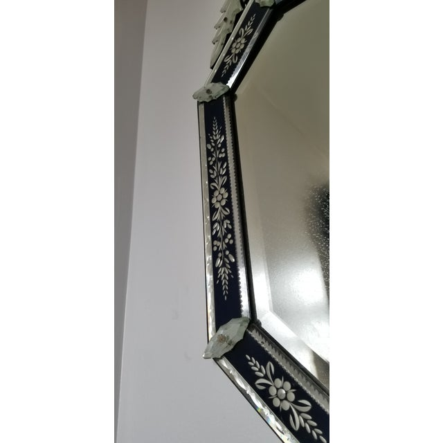 Vintage Mid-Century Venetian Style Black Banded Mirror For Sale - Image 11 of 12