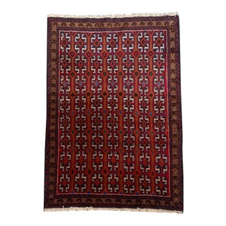 """Tribal Multicolored Repeat Pattern Formal Small Baluchi Entry Carpet - 3' 4"""" X 4' 6"""" For Sale"""