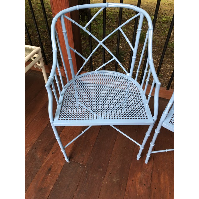 1970s Vintage Cast Aluminum Chinese Chippendale Faux Bamboo Barrel Chairs- A Pair For Sale - Image 12 of 13
