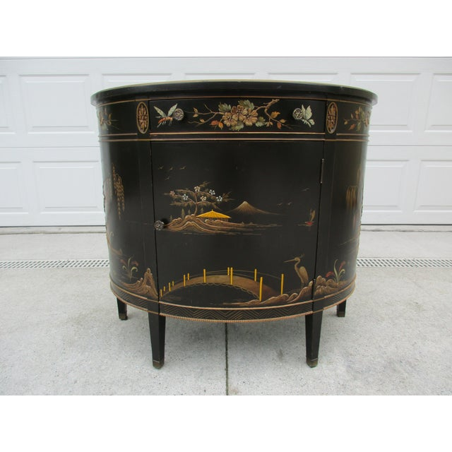20th Century Chinoiserie Black Lacquered Demi-Lune Commode or Cabinet For Sale - Image 11 of 11