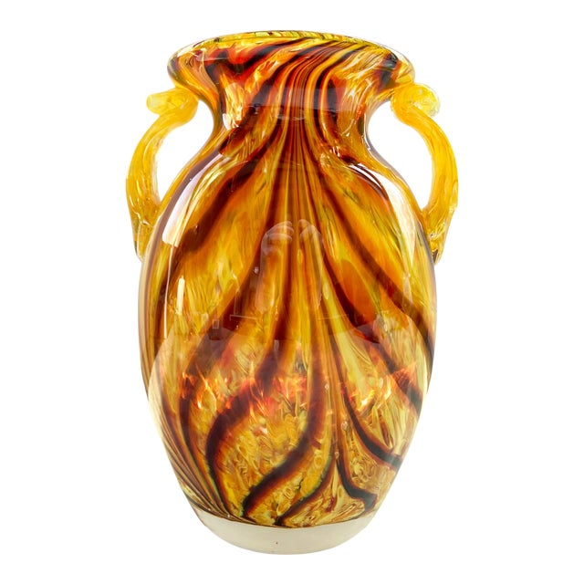 1960s Murano Swirl Glass Vase With Handles For Sale