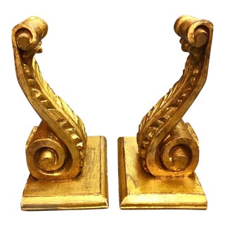 1950s Hollywood Regency Carved Wood Gilded Italian Corbels - a Pair For Sale