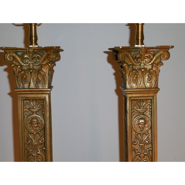Antique Bronze Ornate Table Lamps - Pair - Image 3 of 11