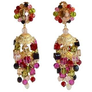 Francoise Montague Multi-Color Cube Clip Earrings For Sale