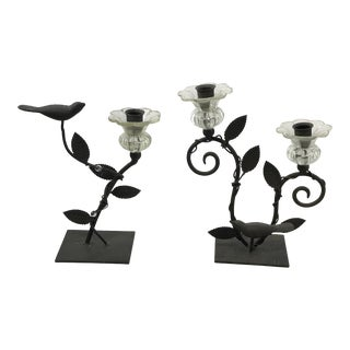 Black Iron Bird Leaf Berry Candlesticks - a Pair For Sale
