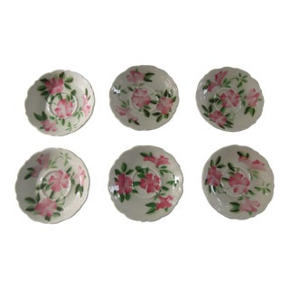 Vintage Pink Floral Dessert Plates - Set of 6 For Sale